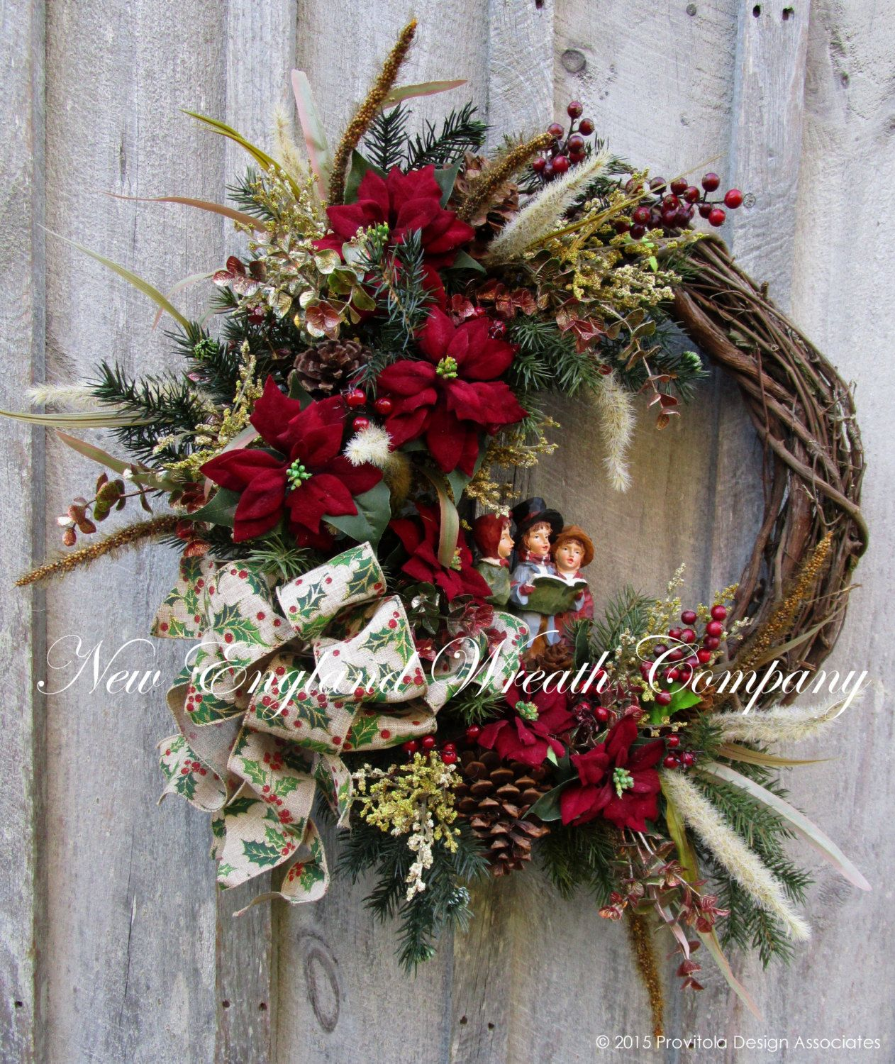 Christmas Decorations In Victorian England: Dickens' Carolers Christmas Wreath ~A New England Wreath