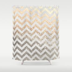 Gold Silver Chevron Shower Curtain With Images Gold Shower