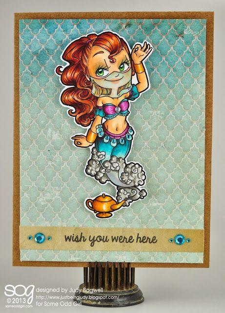 ...just being Judy: Using Some Odd Girl #digi stamp Genie Gwen. #genies #digitalstamps #handmadecards