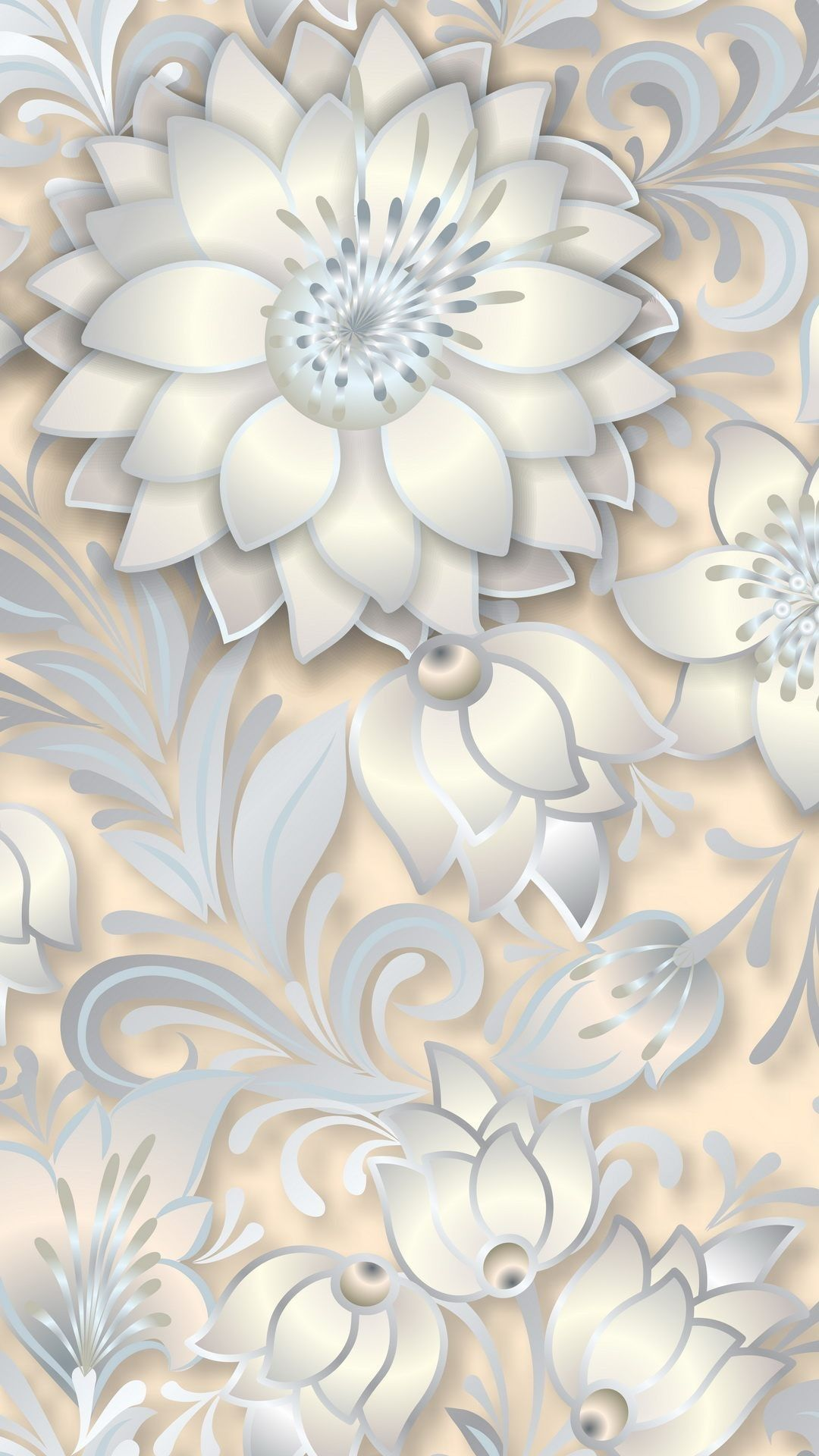 Silver plated flowers wallpaper. Flowers, gold, silver, vector, white, decoration, iPhone, Android, HD Wallpaper Sazum 2017.