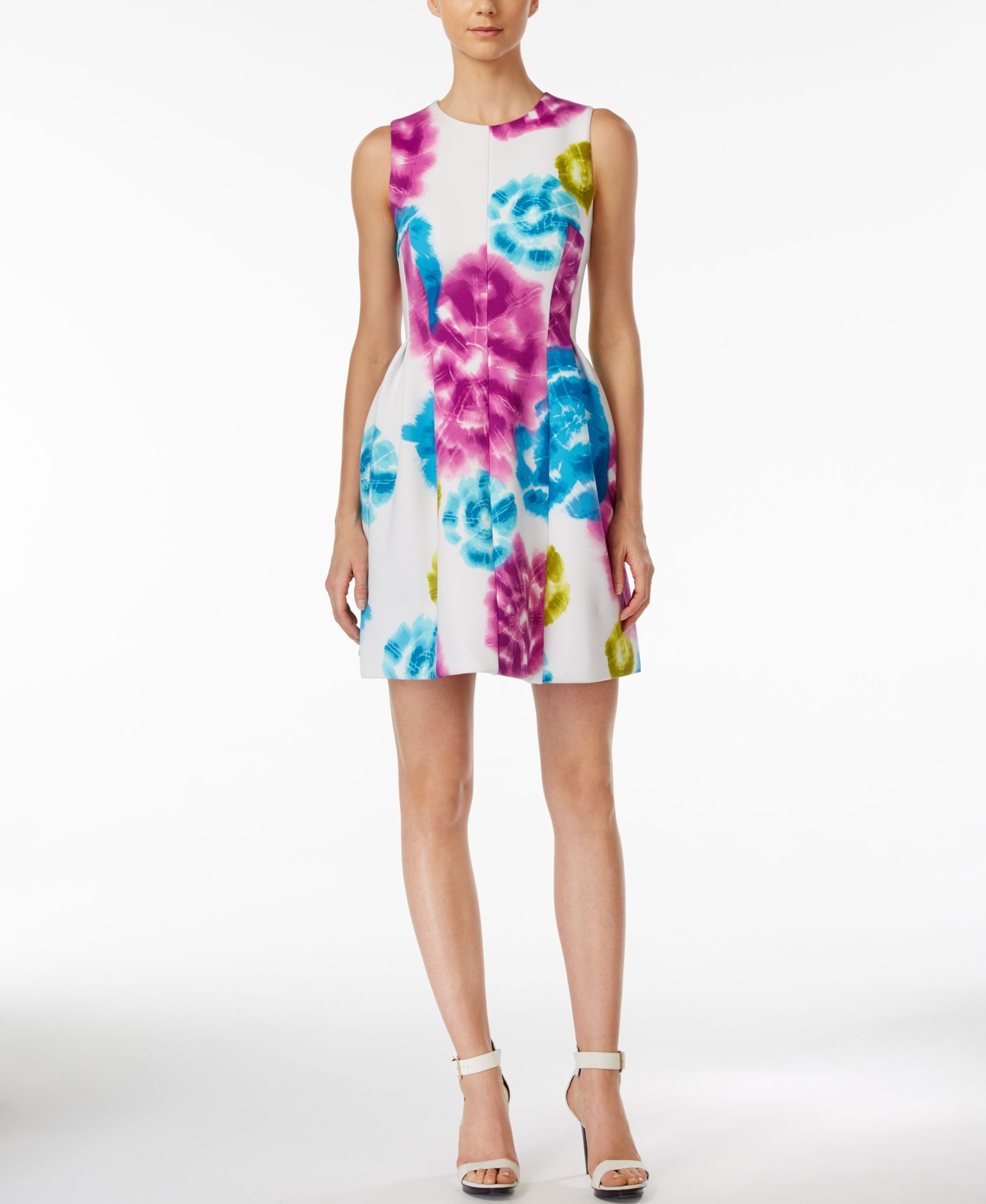 1c6f9fda4b191 Calvin Klein Sleeveless Floral-Print Fit   Flare Dress
