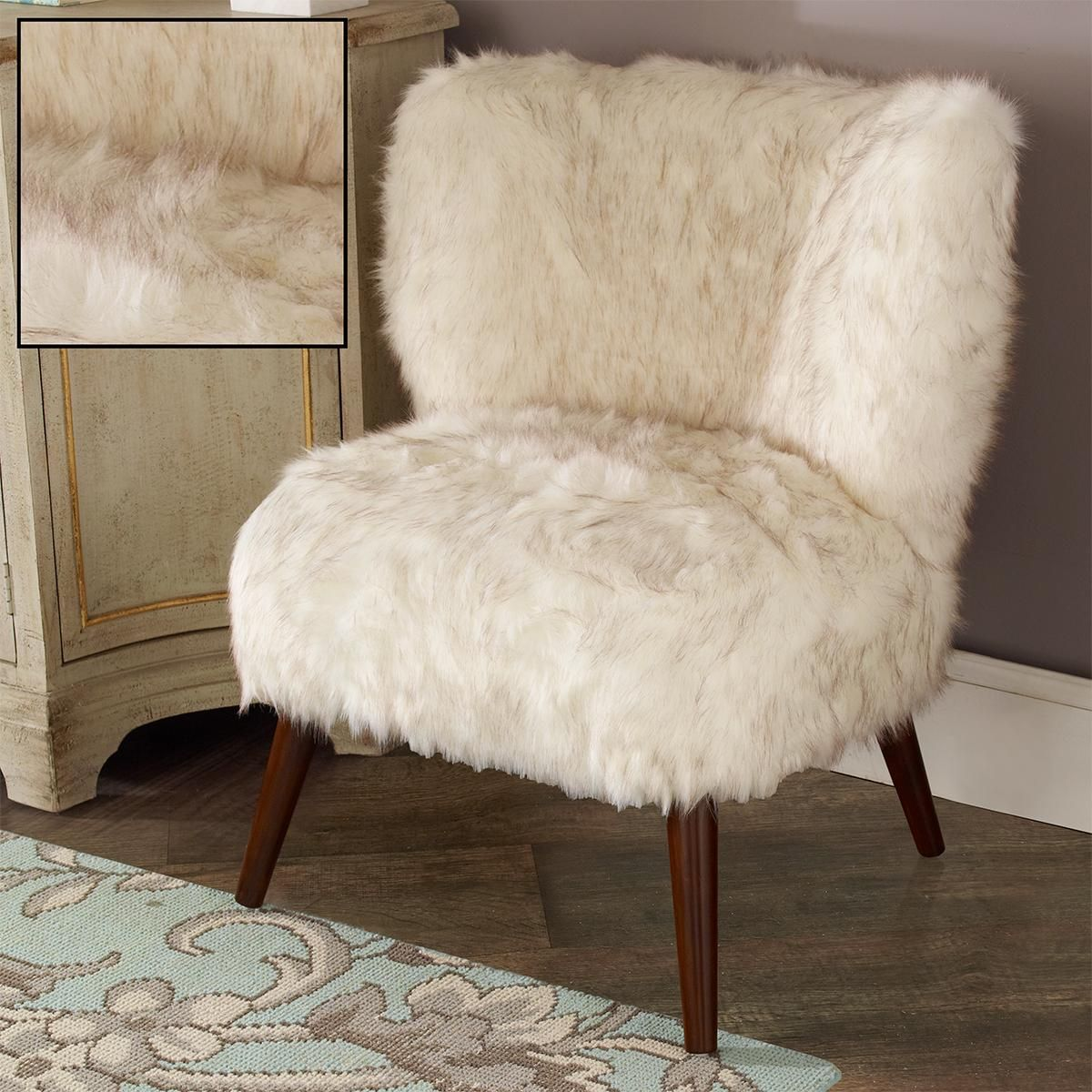Mid Century Modern Faux Fur Chair Retro Dining Chairs