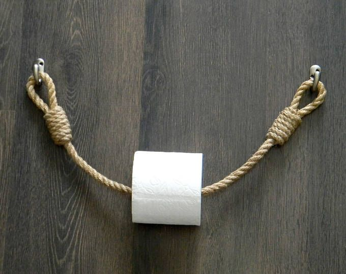 Photo of Toilet paper rope holder .. Industrial design .. Toilet roll holder .. Jute rope nautical decor .. Bathroom furnishings. towel rail
