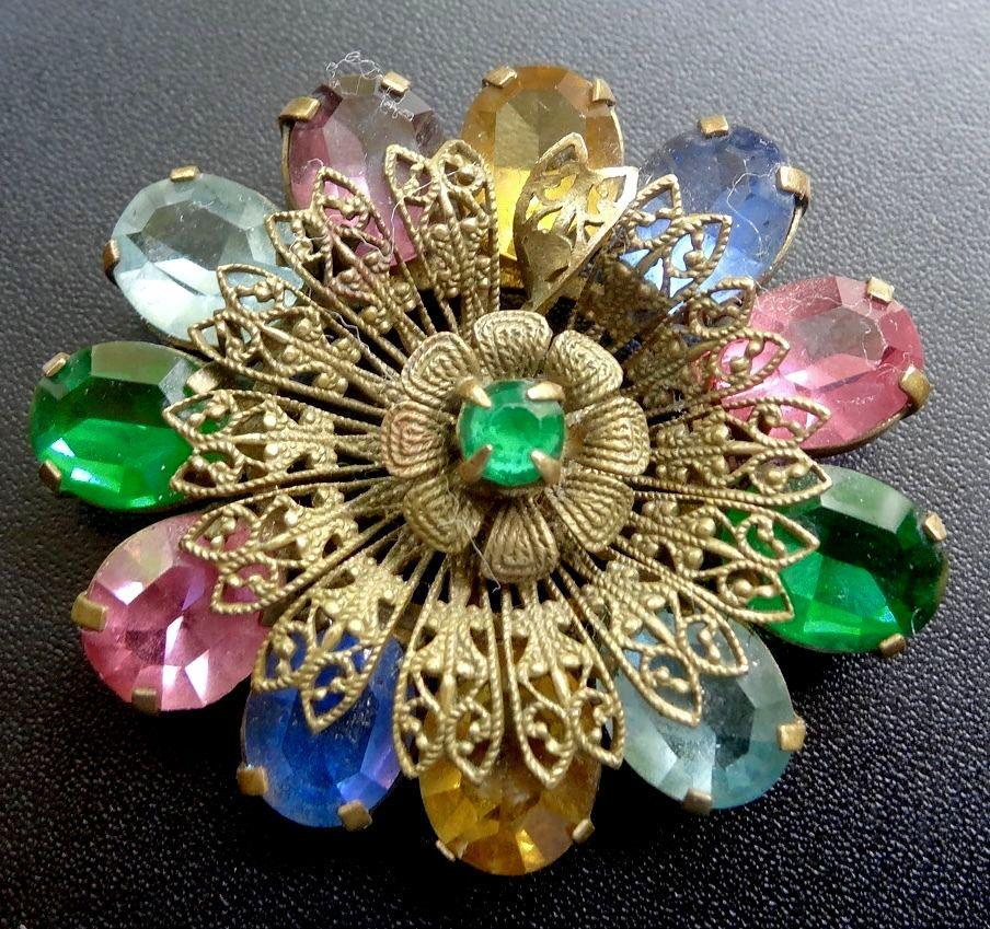 196966fef vintage art deco multi colour rhinestone Czech filigree flower brooch c pin  N17
