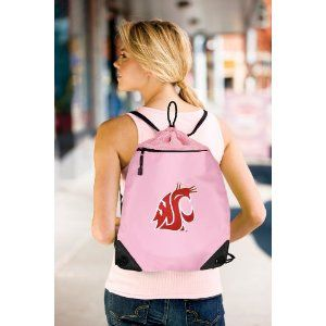 fd2cdddbb4a7 Washington State University Pink Drawstring Bag Backpack WSU Cougars  OFFICIAL College Logo Drawstring Bags - For