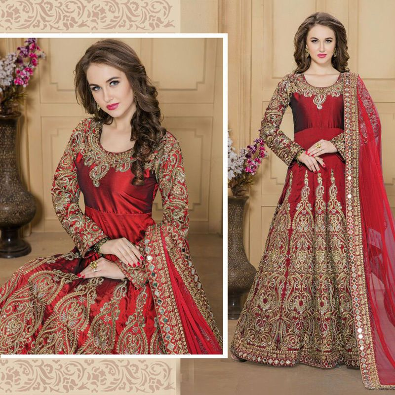 Ethnic Anarkali Gown Suits Indian Bollywood Designer Wedding Party ...