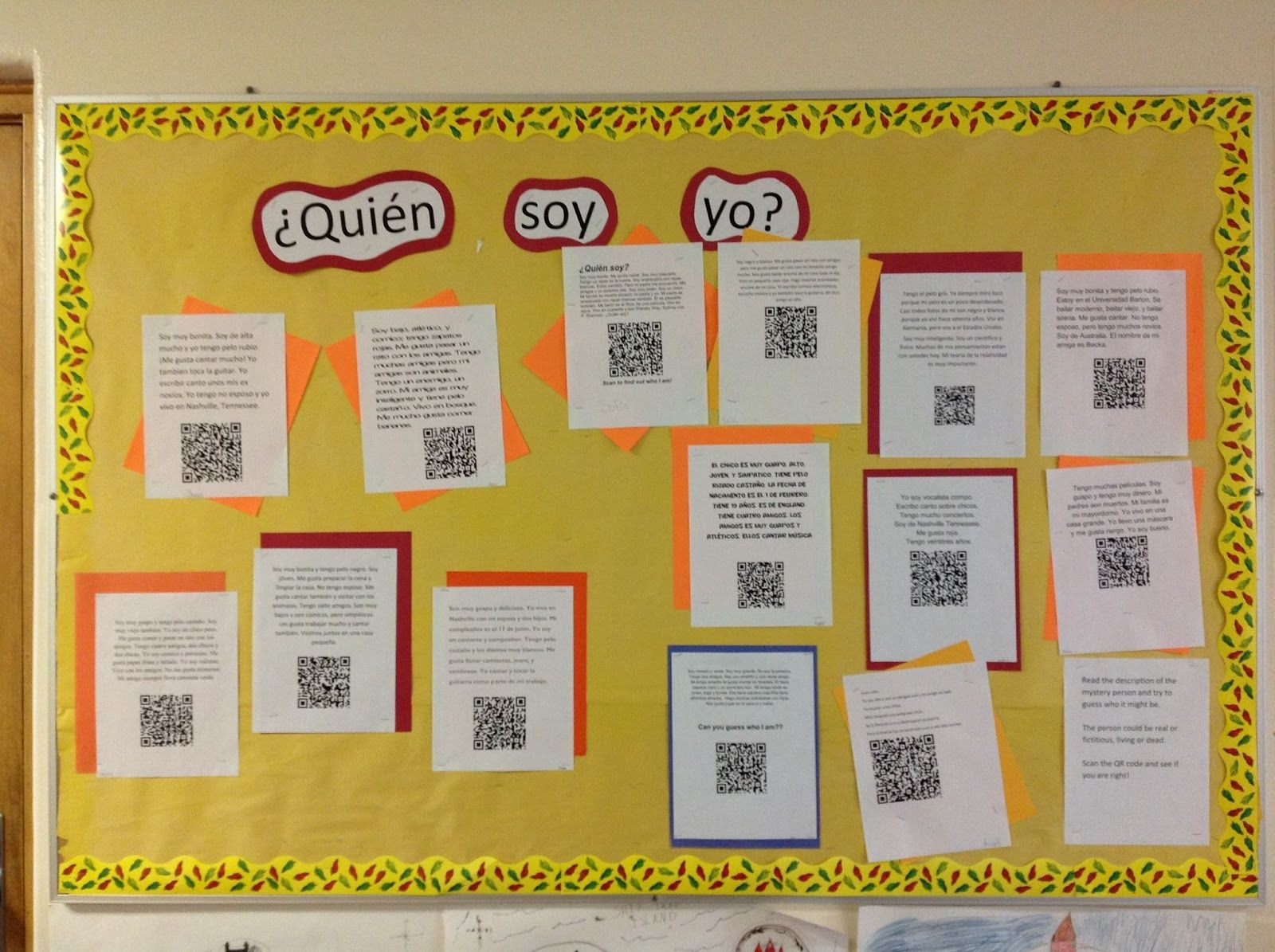 Quien Soy Yo Qr Code Spanish Class Activity From The