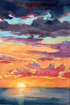 Sunset Ii Watercolour Painting By Sharon Lynn Williams Sunset