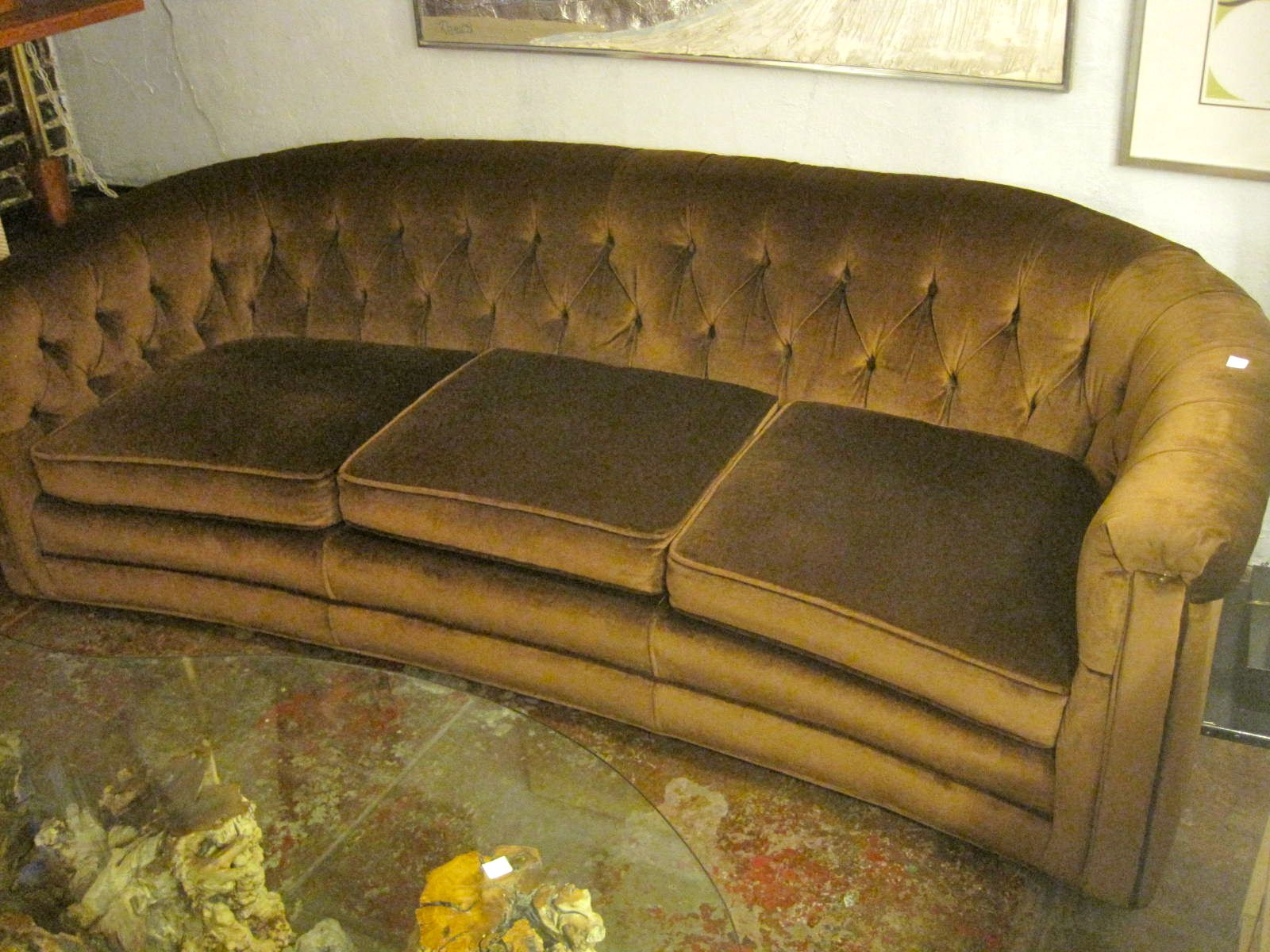 hollywood regency curved sofa country style leather brown velvet http