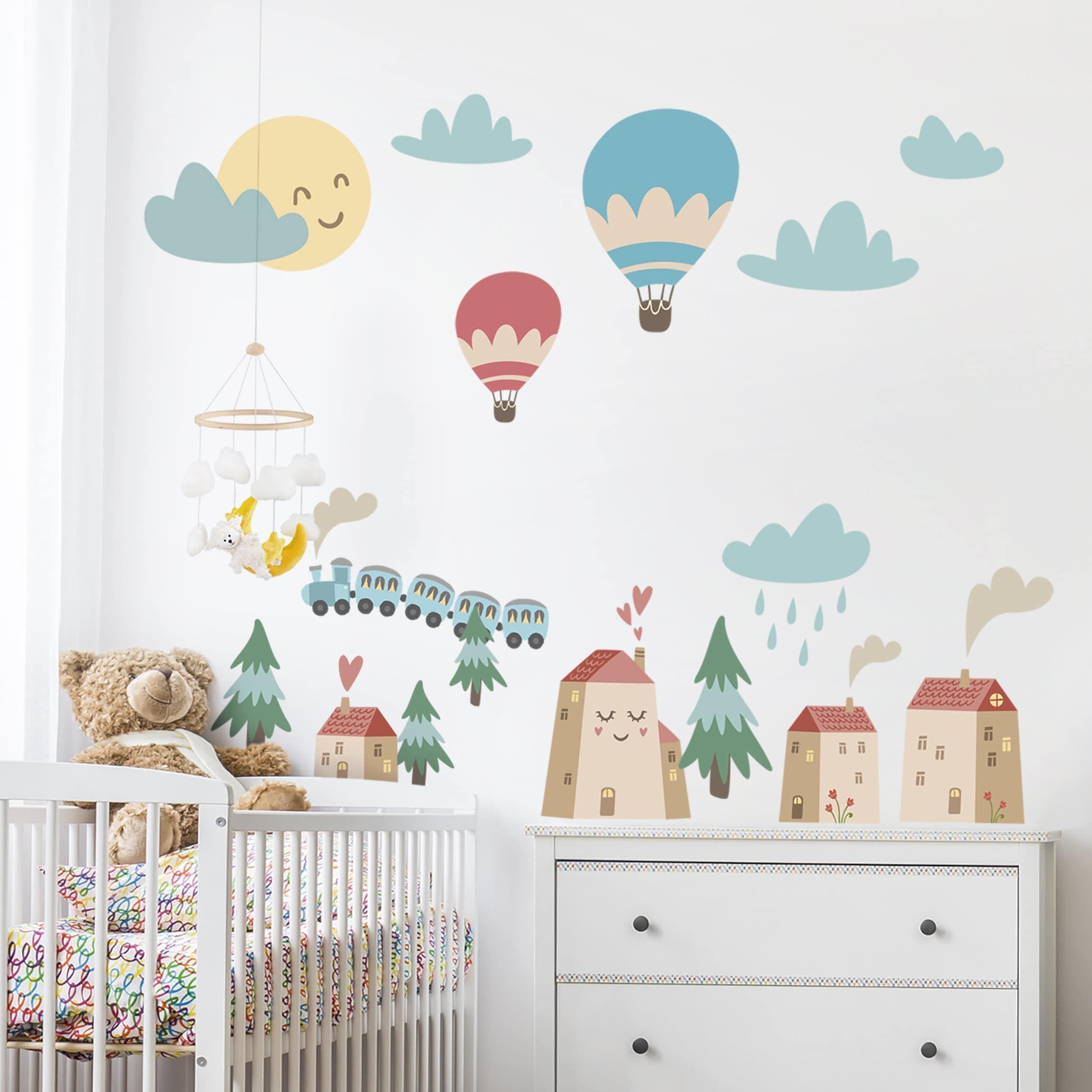 Adesivi Murali Con Foto.Adesivo Murale Bambini Casette E Trenini Stickers