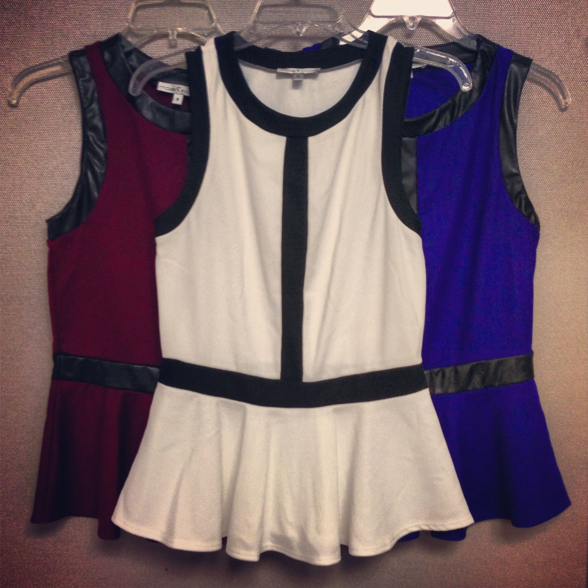 #faux #leather #knit #peplum #top #blouse #black #white #cobalt #blue #burgundy #oxblood #mixedmaterials #fall #fashion #womens #style