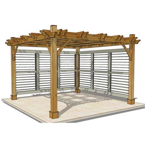 Outdoor Living Today 12 X 12 Breeze Pergola With 2 Louvered Wall Panels Default Title Outdoor Living Yard Outle Pergola Outdoor Pergola Pergola Designs