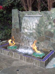Fire and waterfall