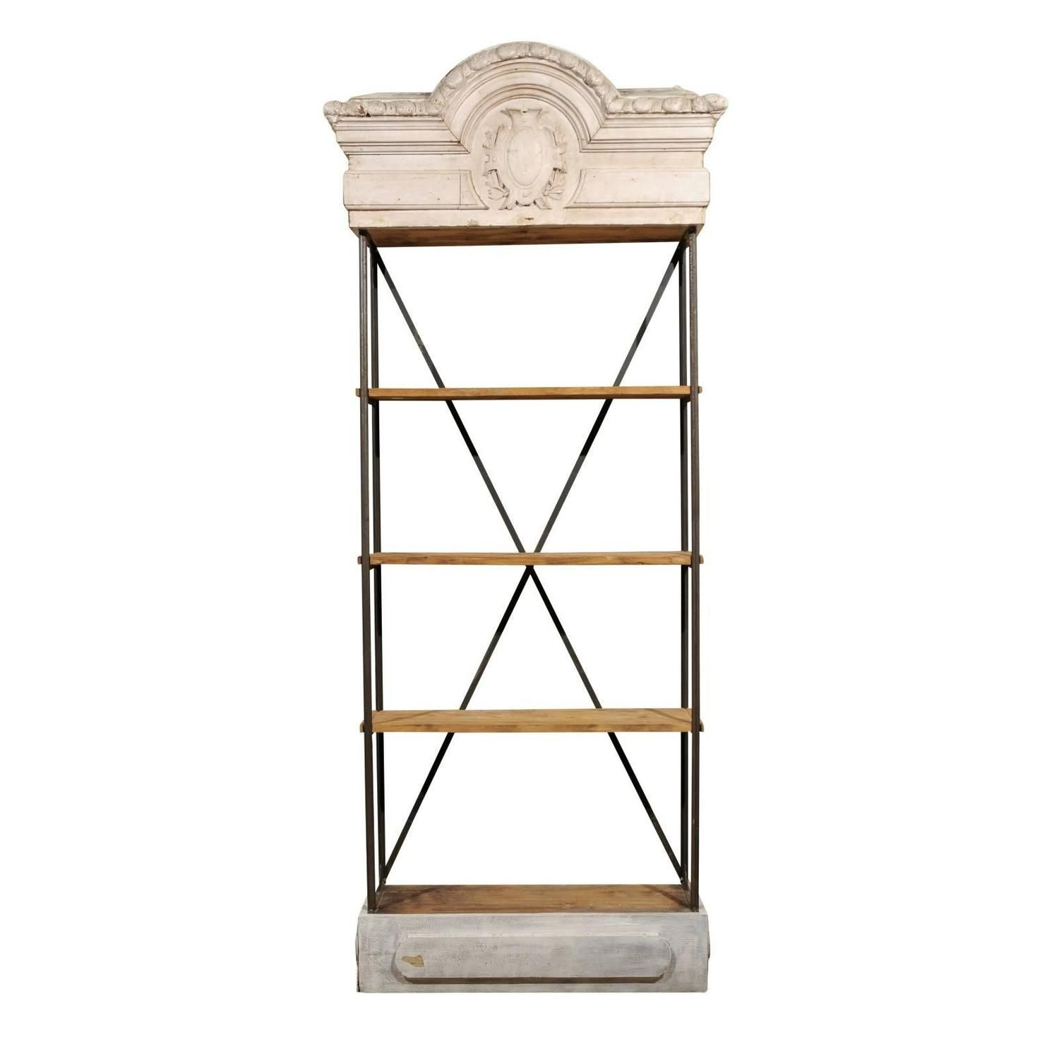 Tall Iron Bookcase Made Around Antique Painted Cornice
