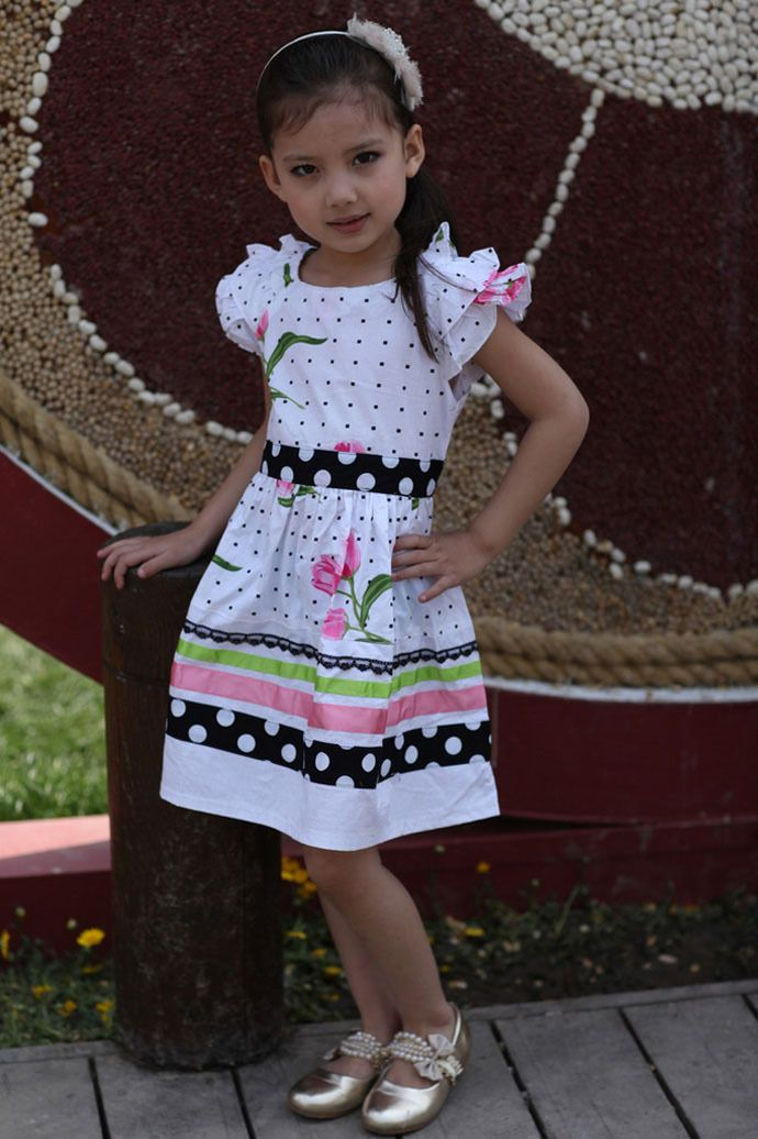 63b92d53aa5e40 Toddler girls dress summer pink cute Little girls dress 100% cotton Wave  point kid clothes Floral popular roupas infantis menina