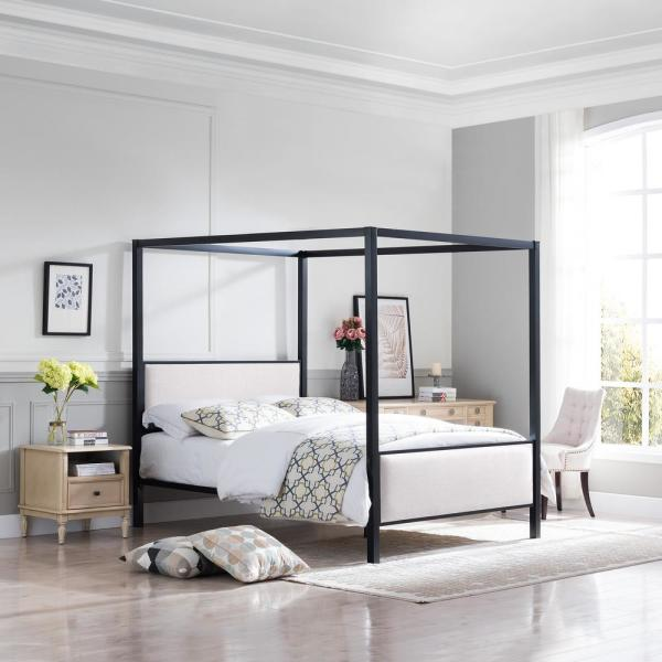 Noble House Duane Beige Metal Canopy Queen Bed Frame 65937