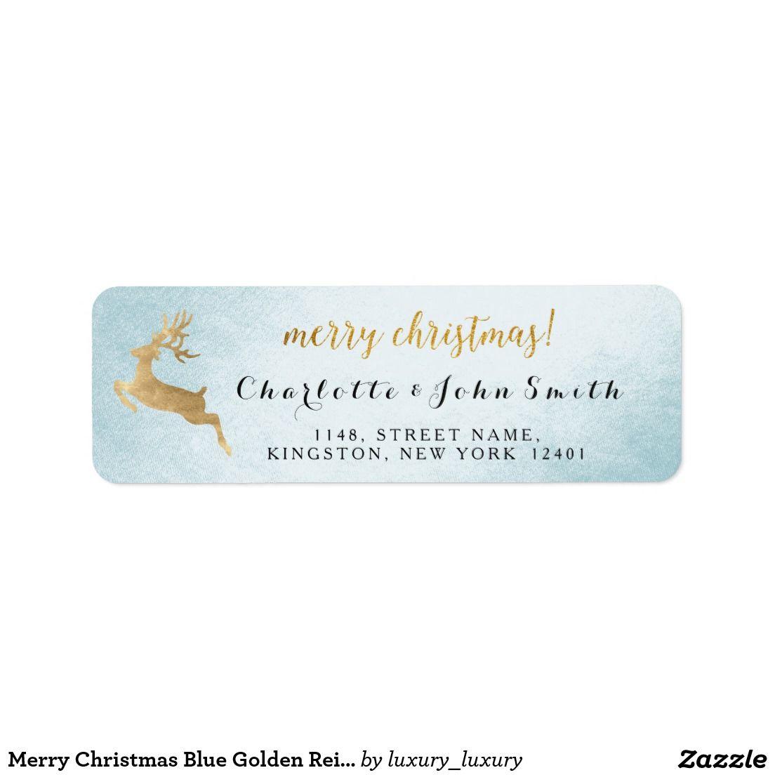 Merry Christmas Blue Golden Reindeer Address Return Address Label