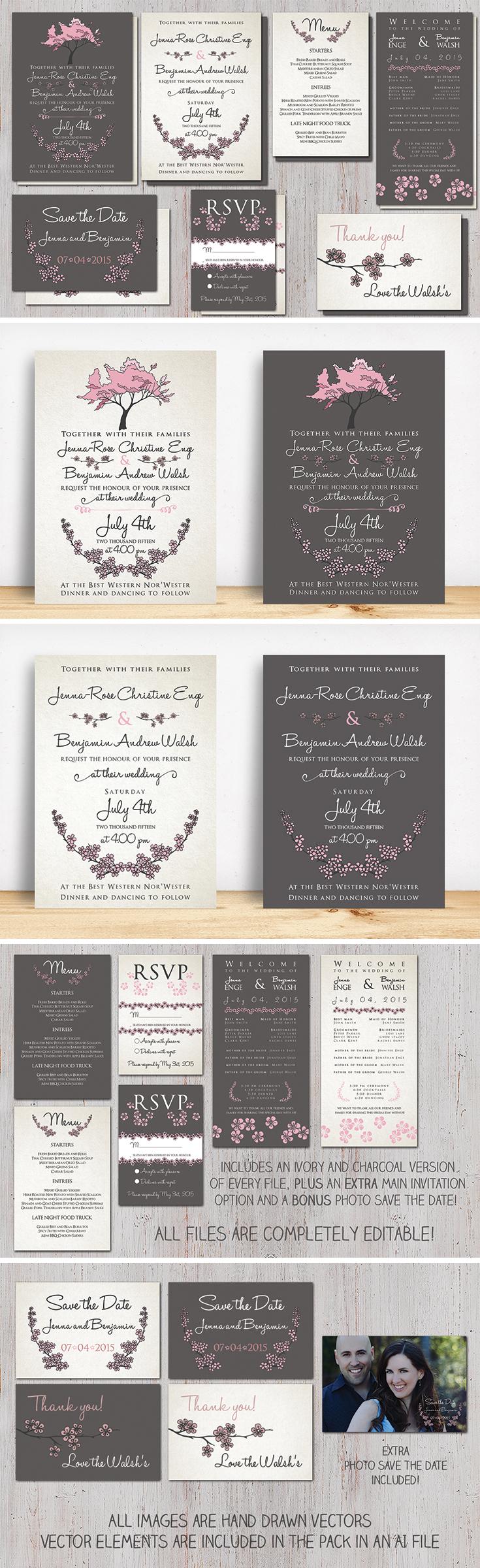Cherry Blossom Wedding Invitation Pack! Includes main invite, rsvp ...