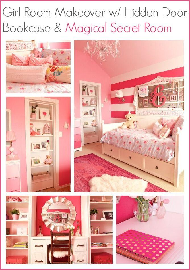 A Dreamy Girl Room Makeover With Hidden Door Bookcase ...