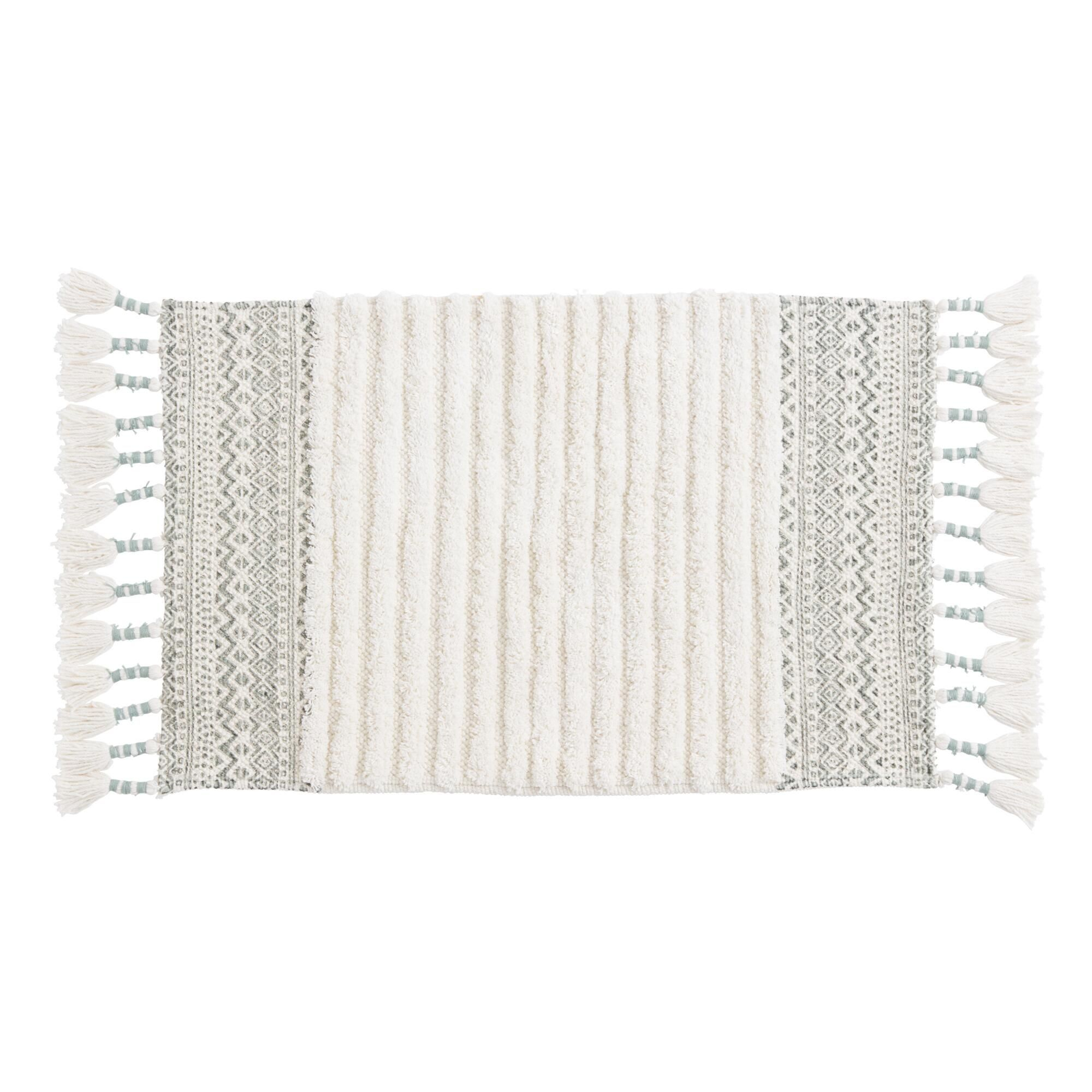 Jadeite and Ivory Geometric Tufted Stripe Bath Mat by World Market Jadeite and Ivory Geometric Tufted Stripe Bath Mat by World Market