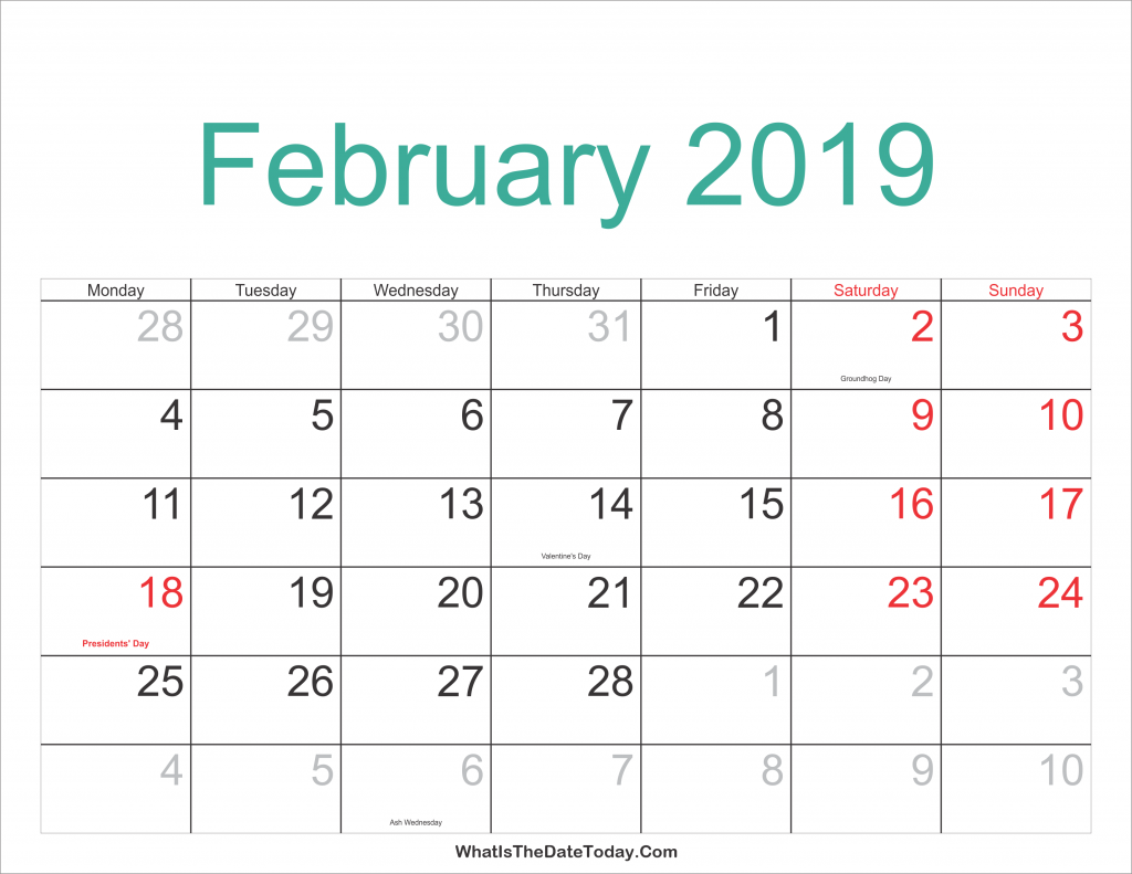 Blank February Calendar Printable