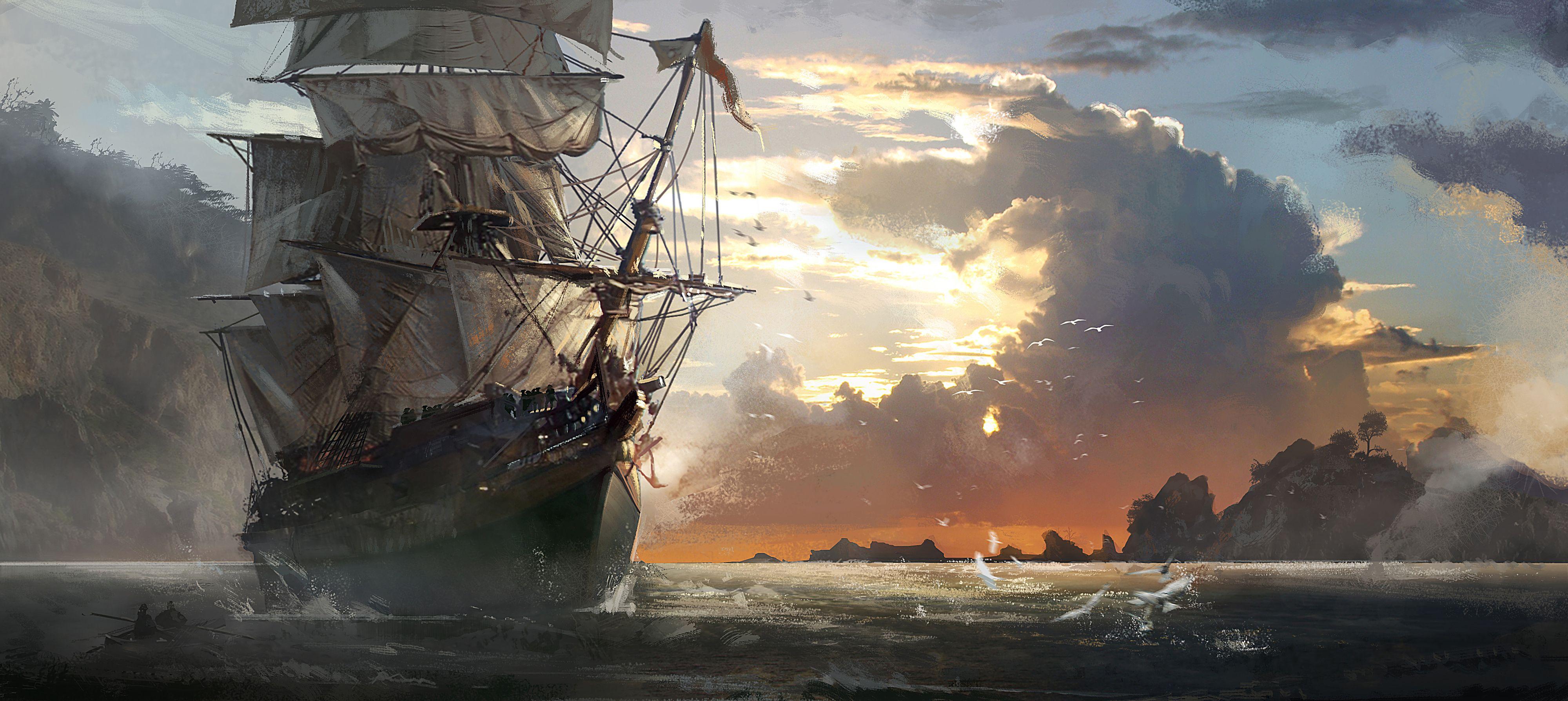 Fantasy ship cliff jolly roger pirate ship rock lightning wallpaper - Sailing Ships
