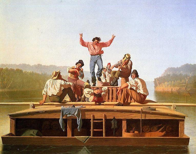 """""""The Jolly Flatboatmen"""", by George Caleb Bingham, 1846"""