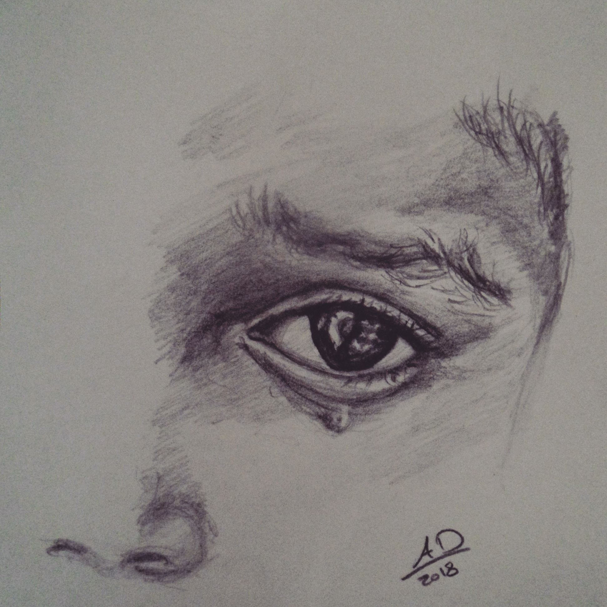 sad eye with tears pencil graphite drawing drawing tutorial