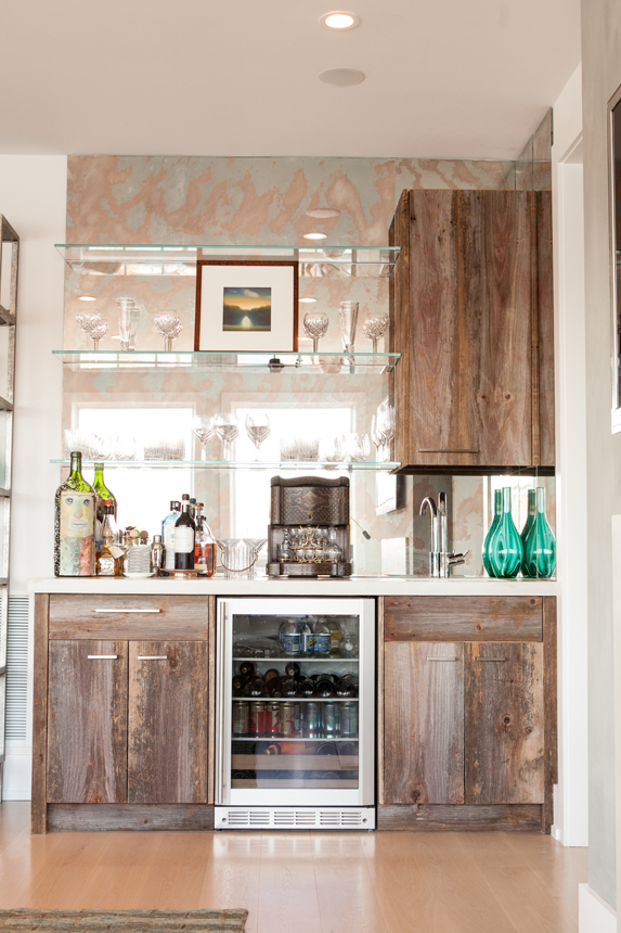 Antique Barn Board Wet Bar With Gl Shelves And Mirror