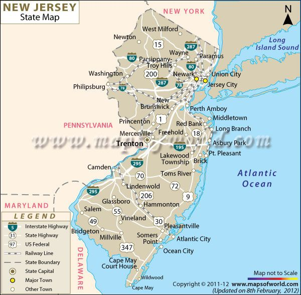 Map of New Jersey. Island beach state park is located toward the ...