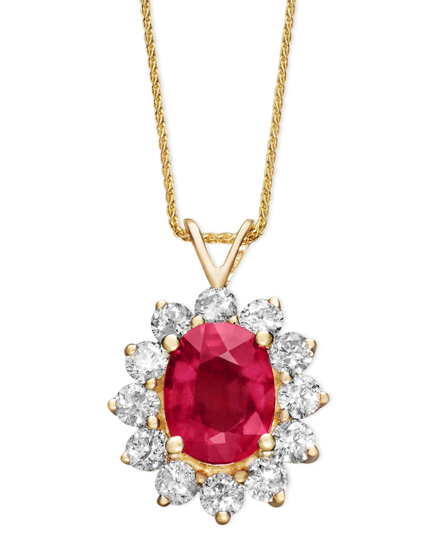 K gold necklace ruby ct tw and diamond ct tw