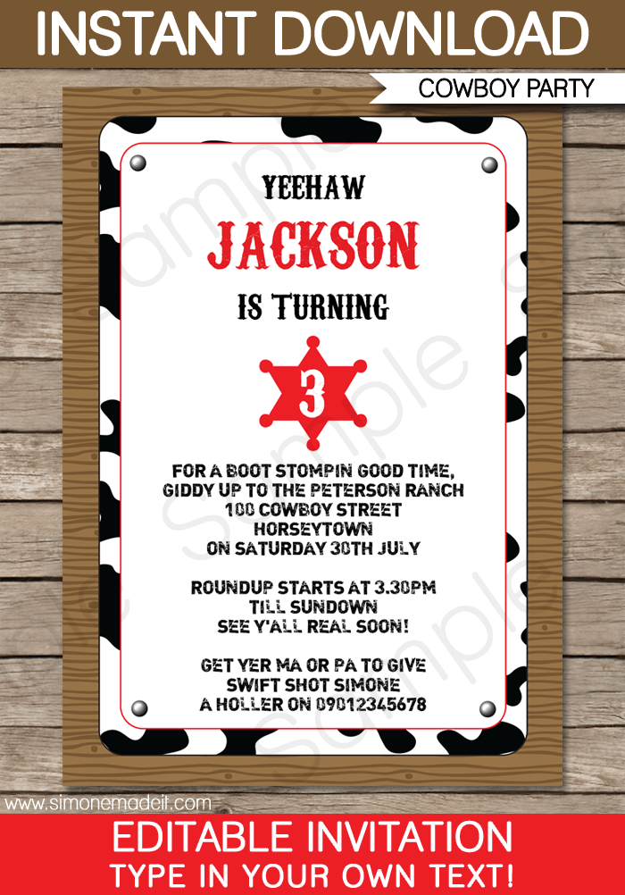 cowboy party invitations template in 2018 kian cowboy party