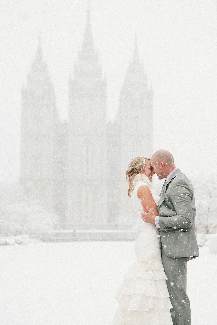 Winter Temple Wedding - SLC  http://www.samijophoto.com/