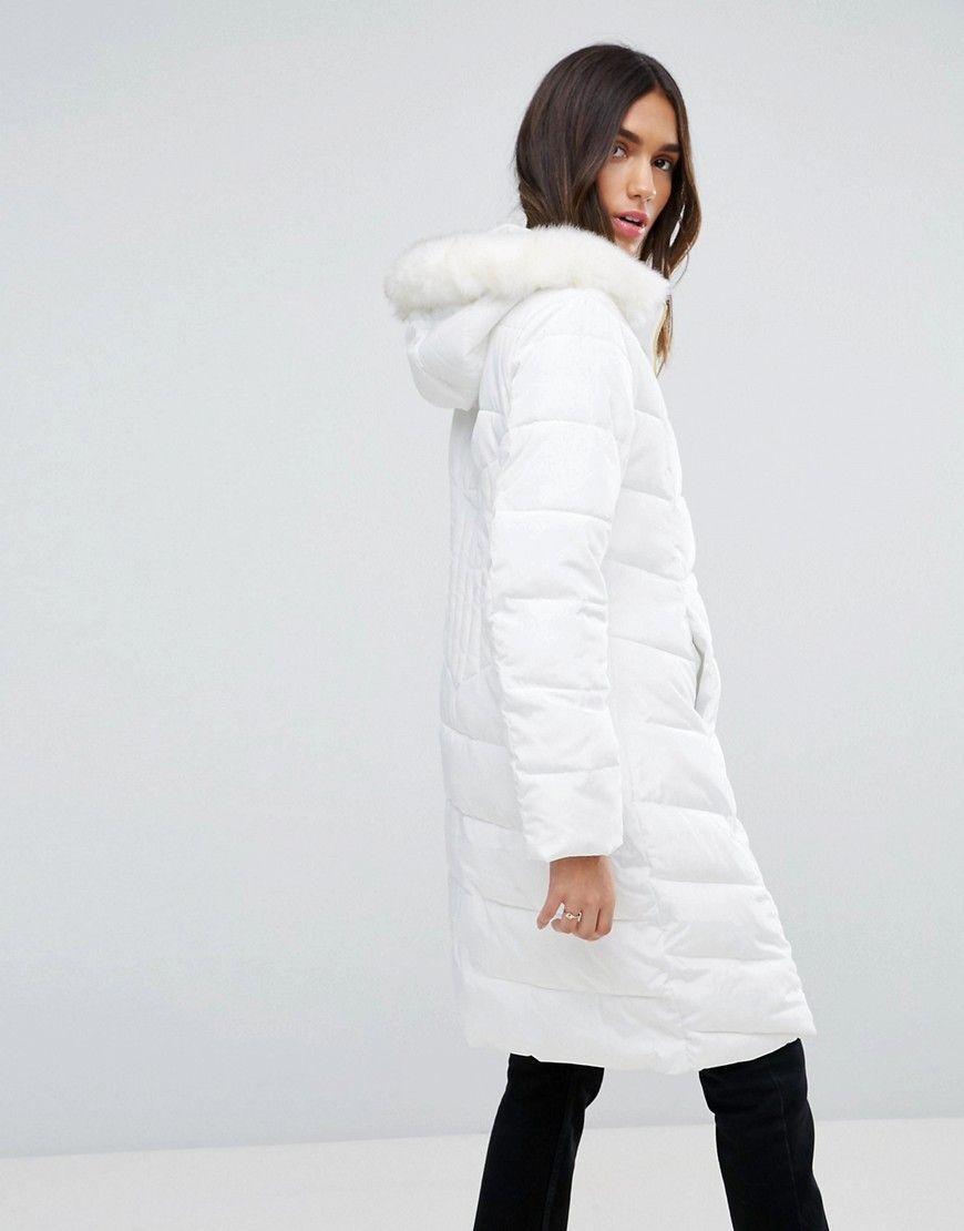 Longline Puffer Coat With Faux Fur Trim Hood Puffer Coat With Fur Coat Coats For Women