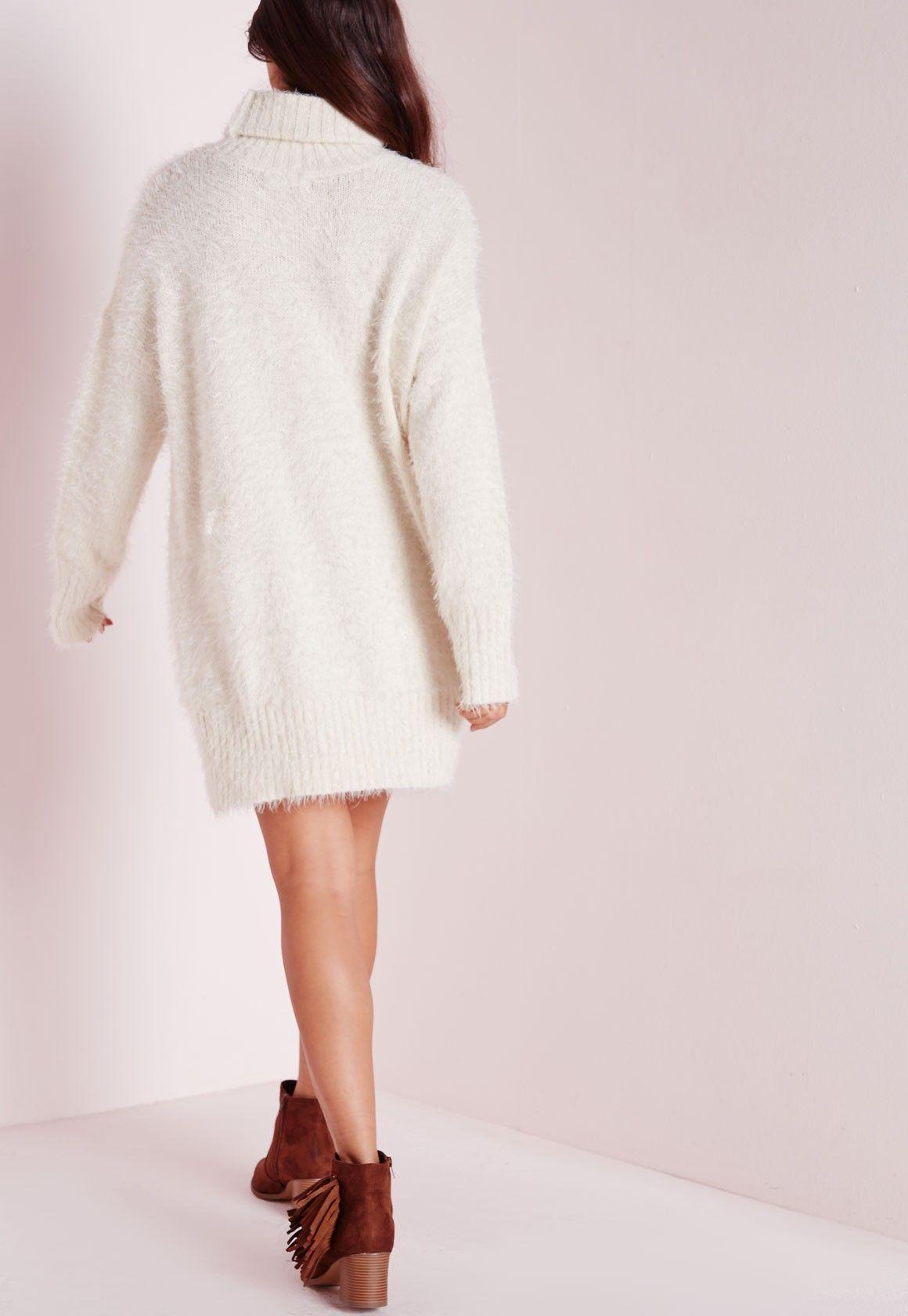 b7b7d3fe21 Missguided - Fluffy Roll Neck Jumper Dress Off White