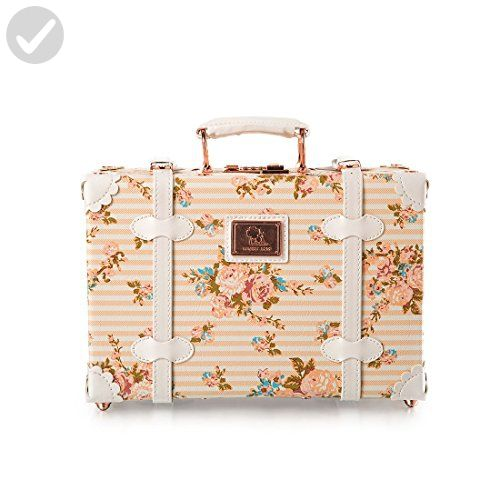 Decorative Luggage Box 13 Inch Pu Leather Small Suitcase Floral Decorative Box With
