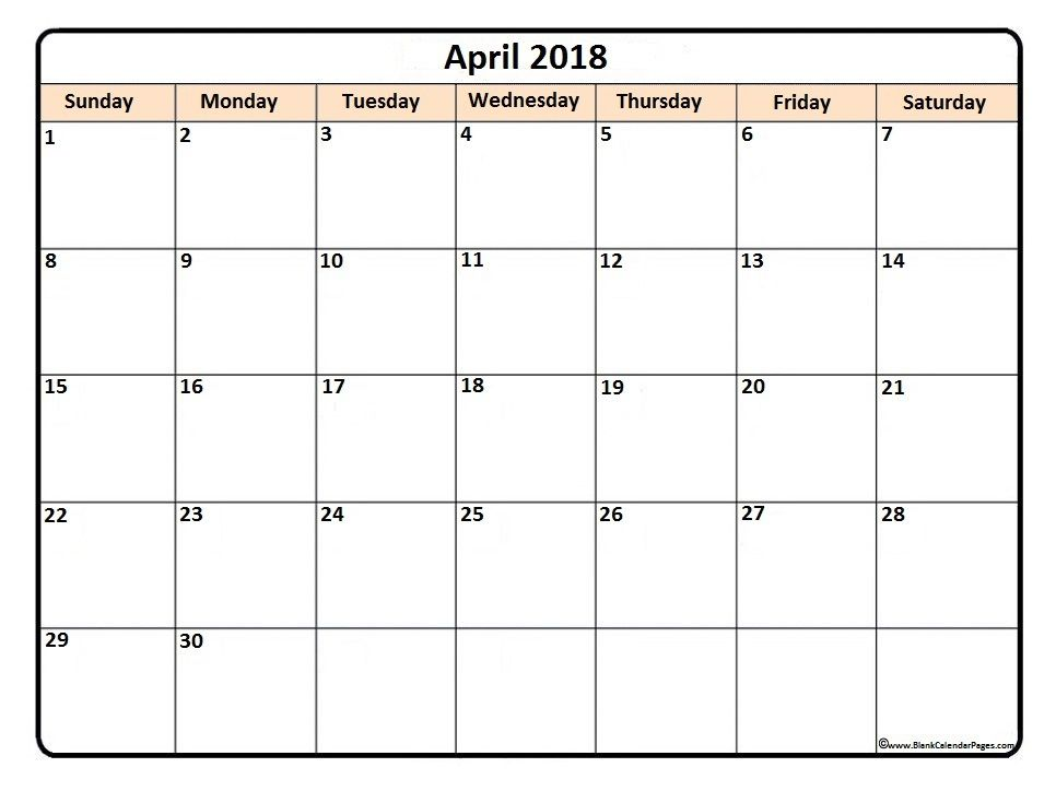 april monthly calendar 2018
