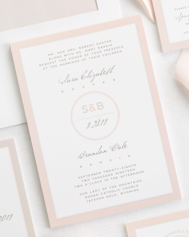 Modern Circle Logo Ribbon Wedding Invitations | Graphic Design ...