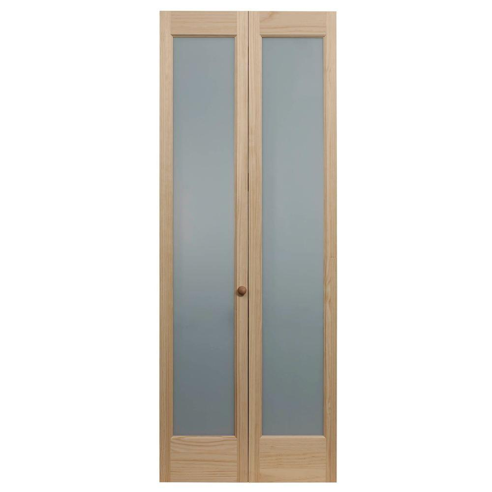 Pinecroft 31 5 In X 80 In Full Frosted Glass 1 Lite Pine Wood Interior Bi Fold Door 873328 The Home Depot Bifold Door Hardware Bifold Doors Glass Bifold Doors