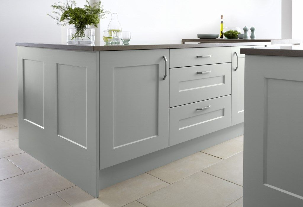 Marvelous Burbidgeu0027s Stowe Kitchen In Soft Moss   Island And Drawers With Framed End  Panels