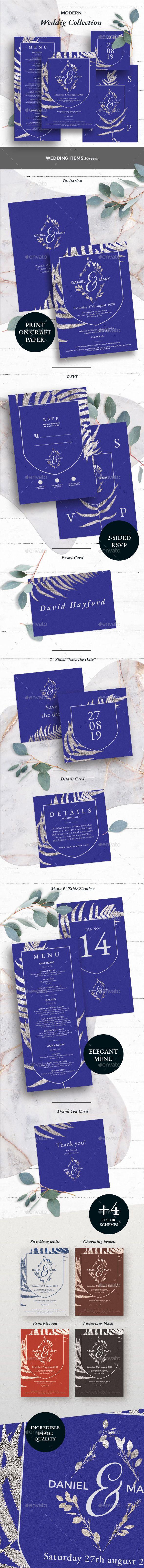 Wedding Invitation Set Template PSD Download
