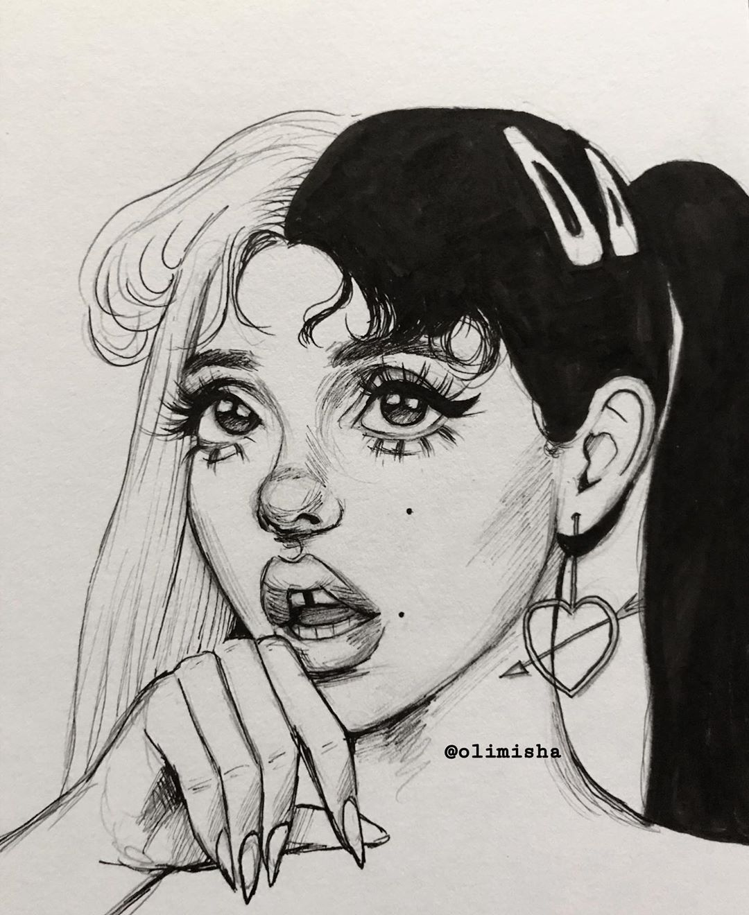 Liv Olimisha Posted On Instagram A Couple Ink Drawings I Did Today First One Is Littlebodybigheart Second On Melanie Martinez Drawings Drawings Sketches