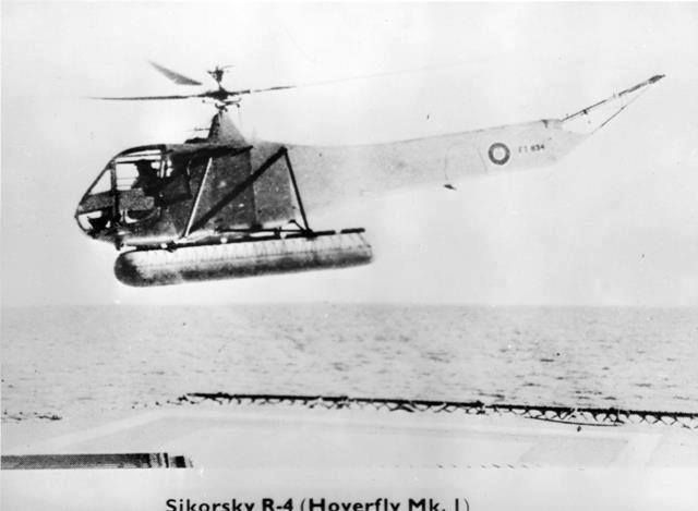 2 January 1944 - The Royal Navy and the American Coast Guard carried out joint sea trials using Sikorsky R4s [Hoverfly I], the first operational use of helicopters. During these trials, 328 landings and take-offs were successfully carried out from MV Daghestan and the USGC Cobb.