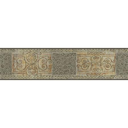 Blue Mountain Curlesque Wallpaper Border, Shimmering Sage