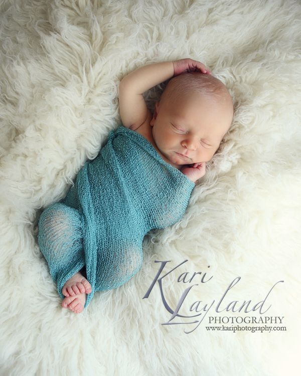 Newborn Photography Teal Wrap On A Flokati Rug Pin For