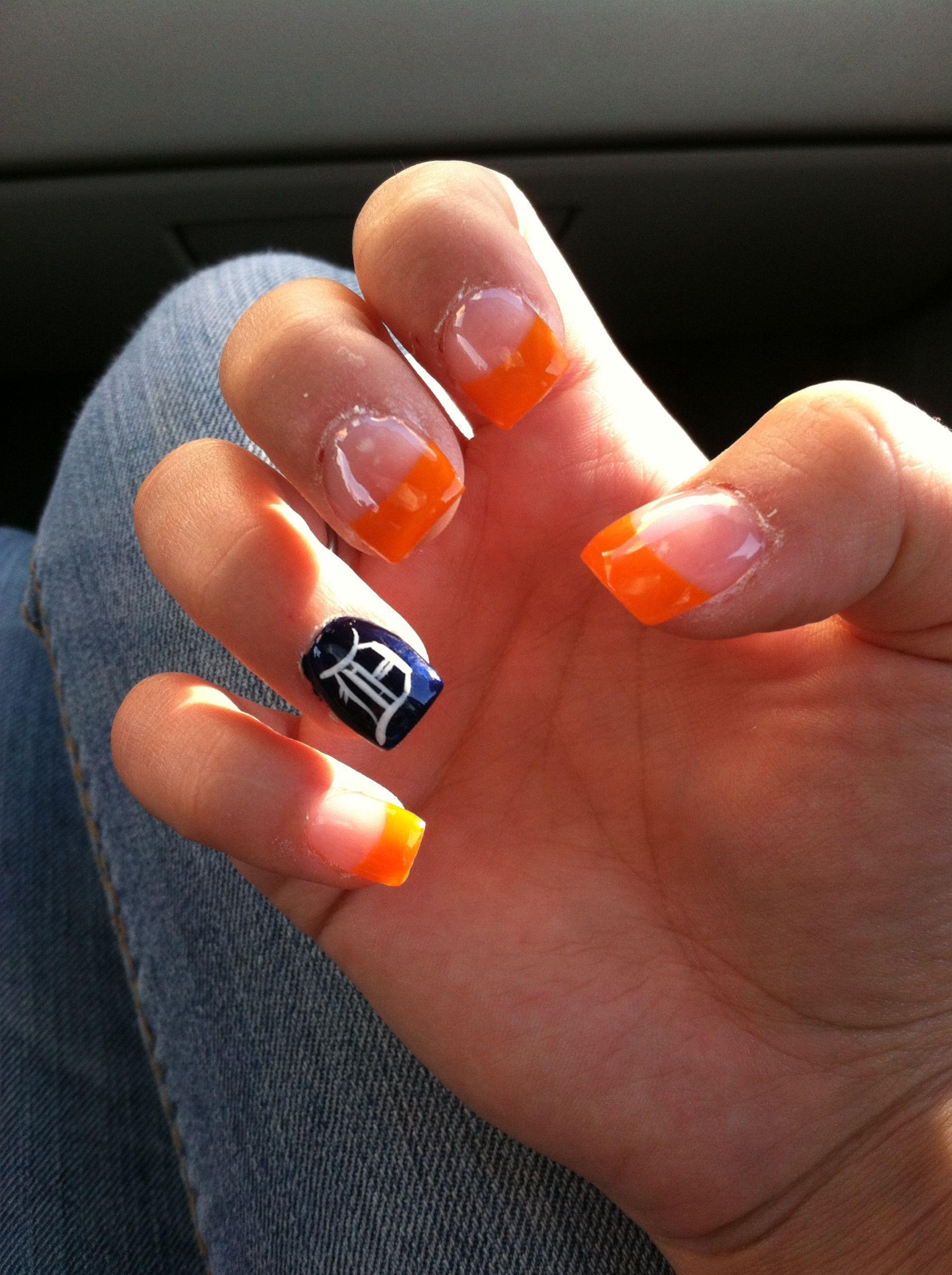 Detroit Tigers nails | Nails | Pinterest | Tiger nails, Tiger nail ...