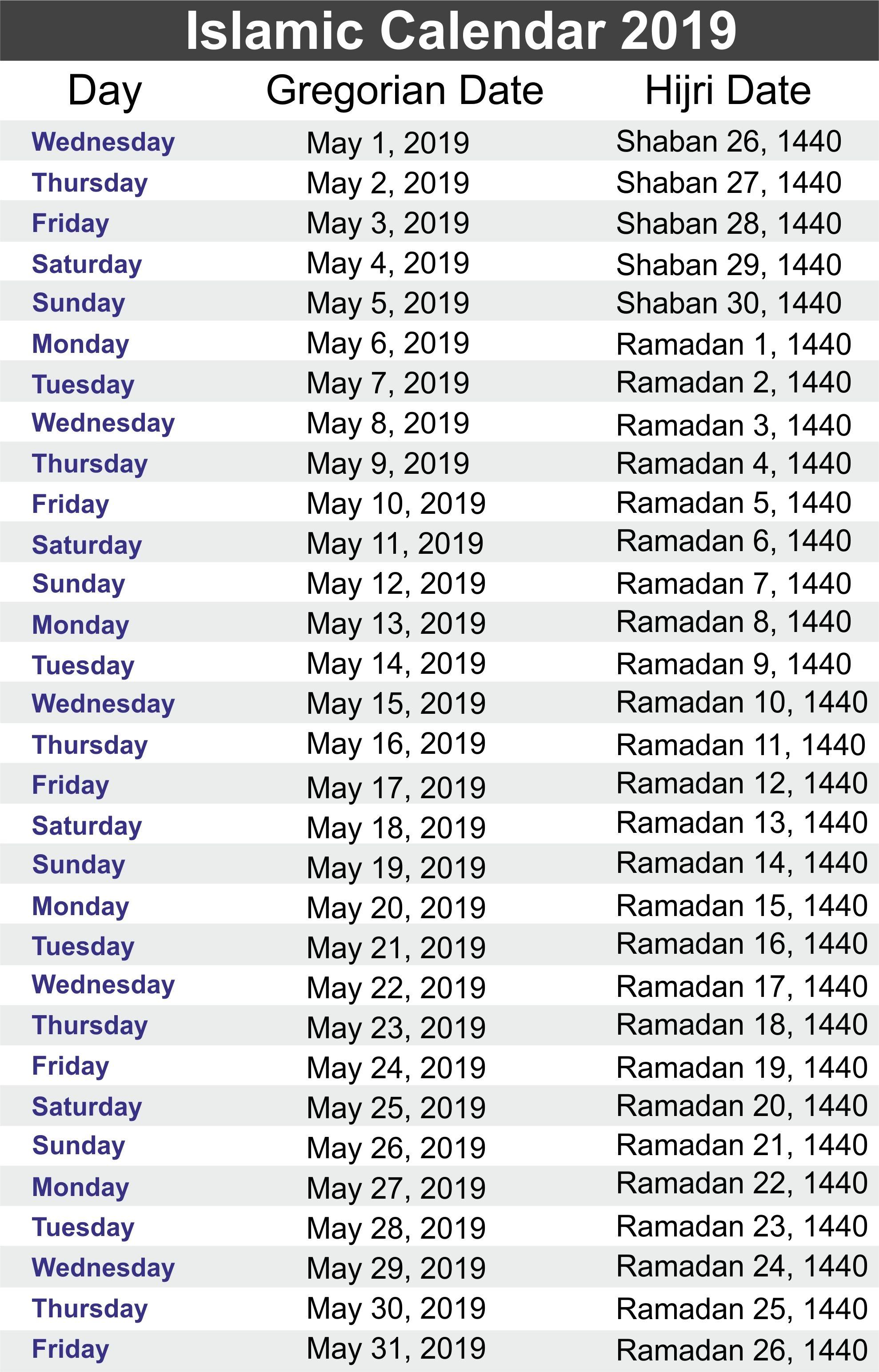 Free Yearly Urdu Islamic Calendar 2019 Hijri Calendar 1440 Free