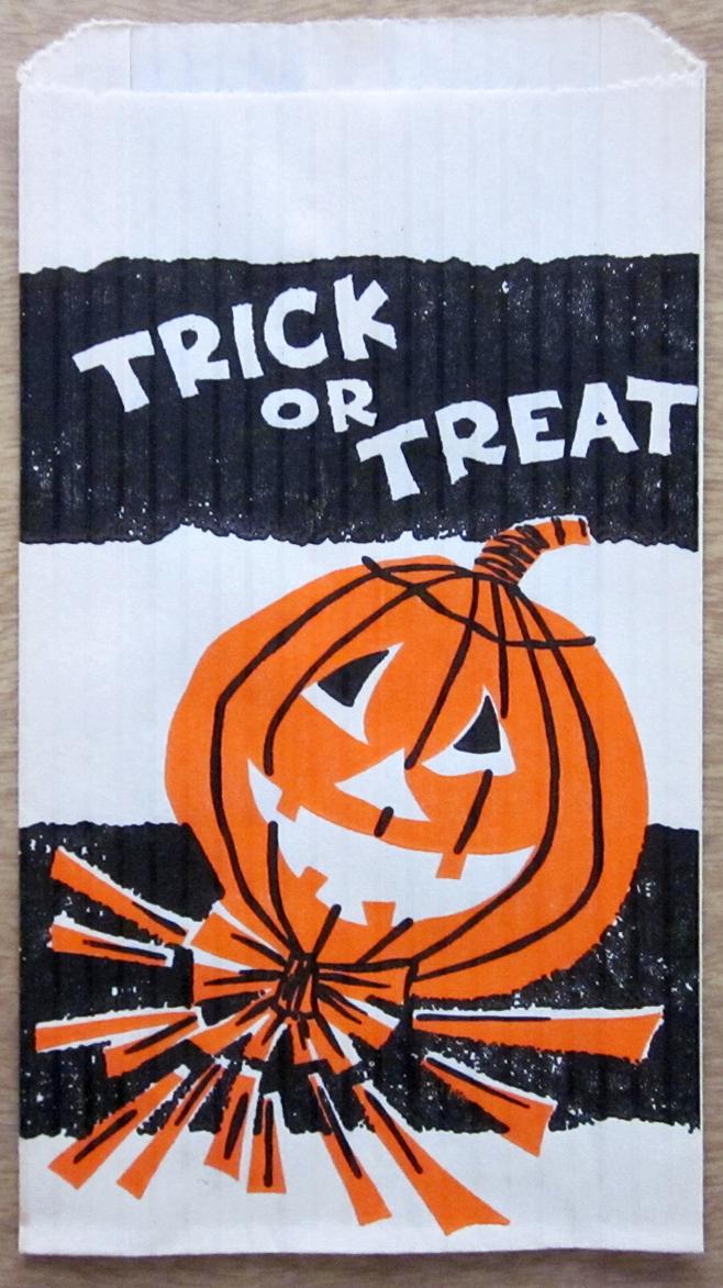 Vintage Halloween Jack O Lantern Trick Or Treat Candy Bag