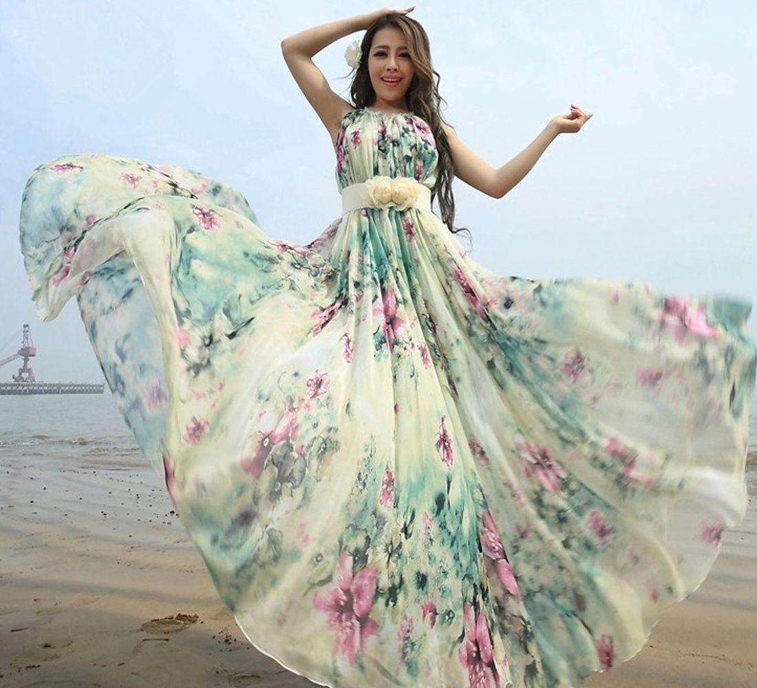 ce530cc350f Boho Chiffon Floral Baby Shower Dress Pregnancy Maternity Bridesmaid Maxi  Dress