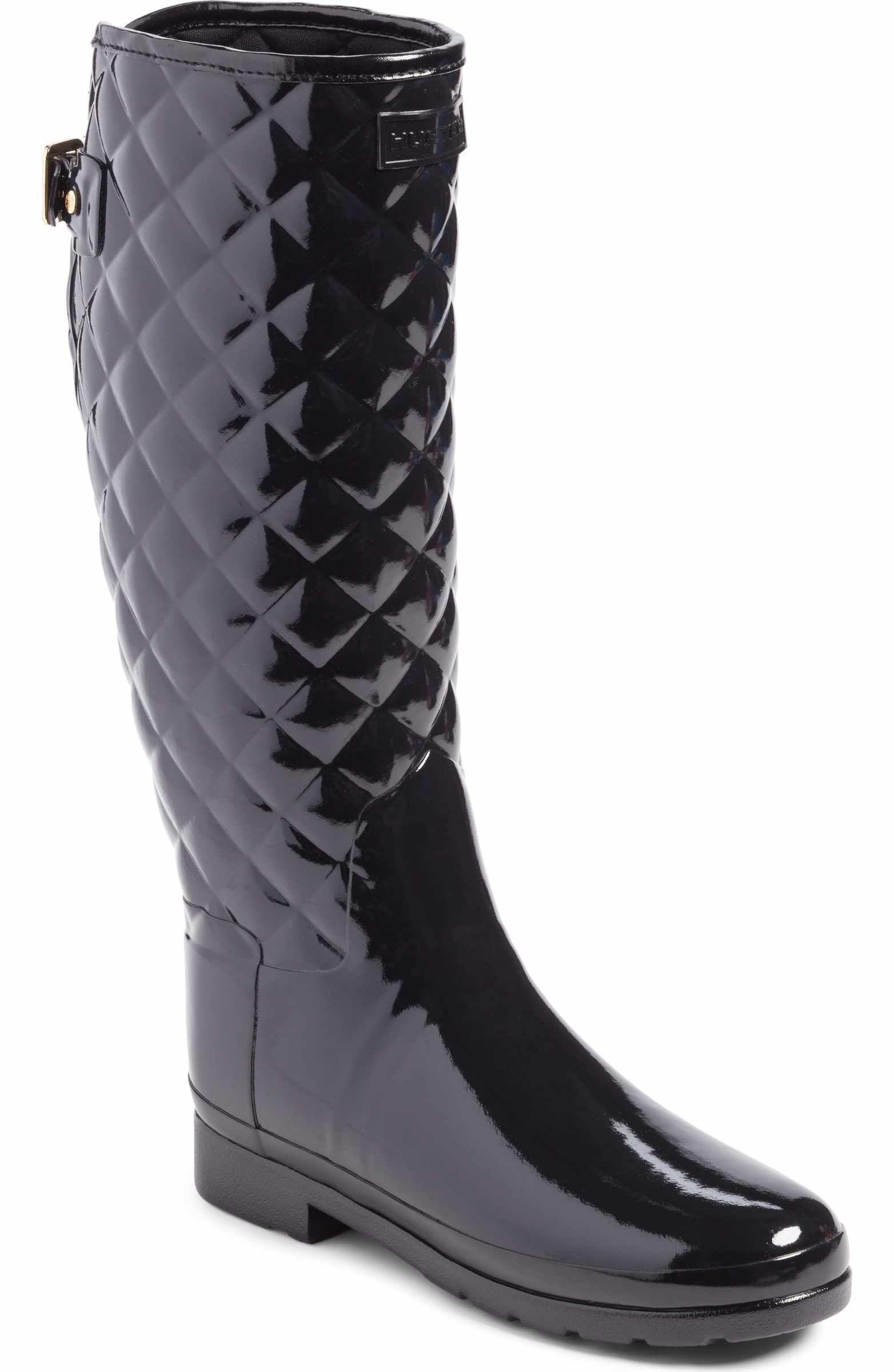 5e60bd89dabccc Main Image - Hunter Original Refined High Gloss Quilted Rain Boot (Women)